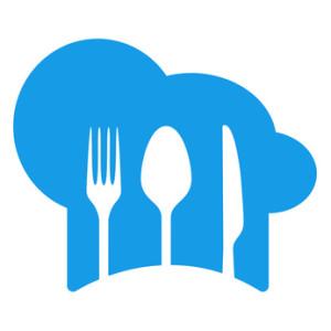 Icono plano gorro cocinero con cubiertos azul